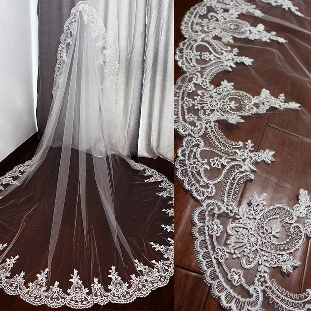 Long Wedding Veil With High Quality Lace Cathedral Bridal Veil With Comb One Layer 3 Meters White Ivory Veil Wedding Accessories