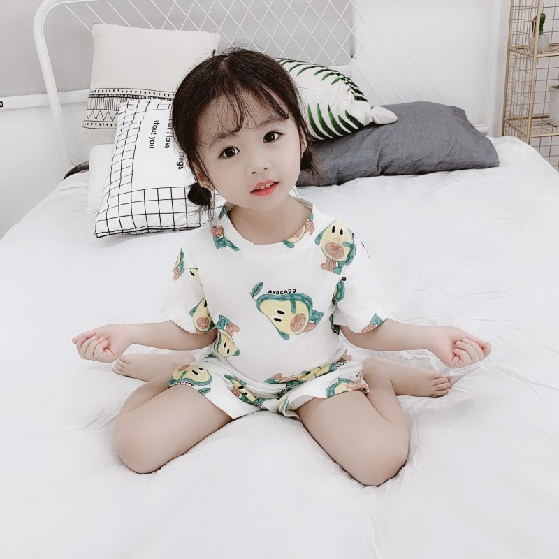 Girls Fruit Pattern Pajamas Suit 2019 Summer Korean-style 1-5-Year-Old Baby Girls Tracksuit Pure Cotton Air Conditioning Clothes