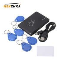 125 khz rfid id em leitor de cartão escritor copiadora com 5 em4305 tag chave + 1 t5577 cartão para controle acesso segurança em casa