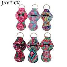 цены 6Pcs Neoprene Floral Waterproof Lipstick Chapstick Holder Bag Key Chain Jewelry