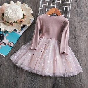 Платье для маленьких девочек вязаные платья с длинными рукавами детская повседневная одежда для маленьких девочек вечерние платья-пачки н...