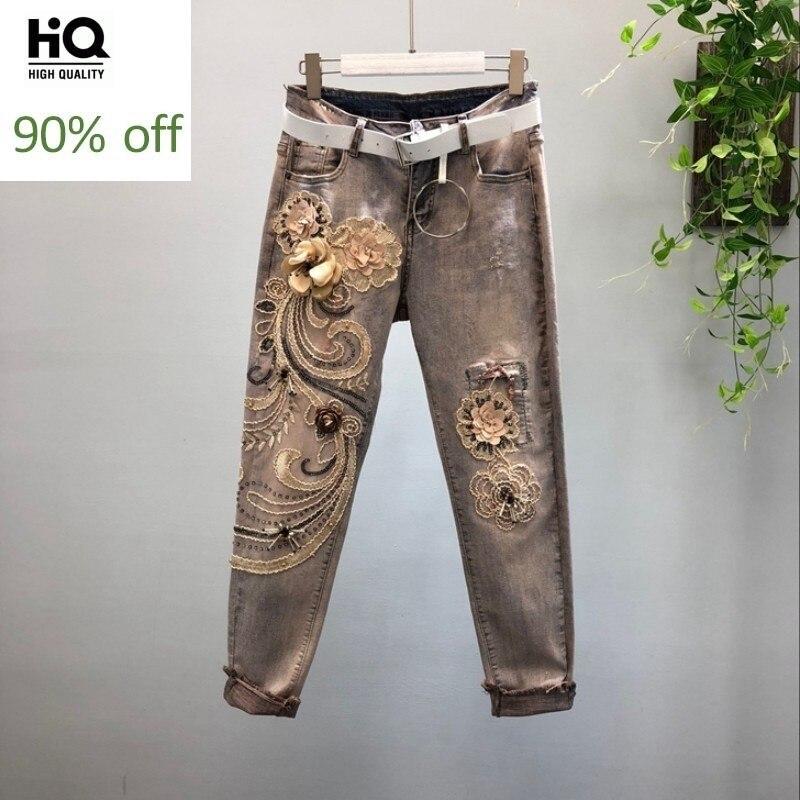 Women 3D Flower Sequins Patchwork Stretch Denim Pencil Pants Street Punk Pocket Long Trousers Female Streetwear Casual Jeans