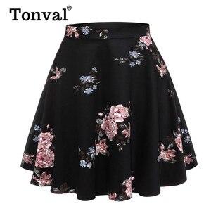 Image 2 - Tonval Pioen Bloemen Vintage EEN Lijn Zwarte Flare Swing Rokken Vrouwen Zomer Plus Size Katoen 50S Retro Skater Rok