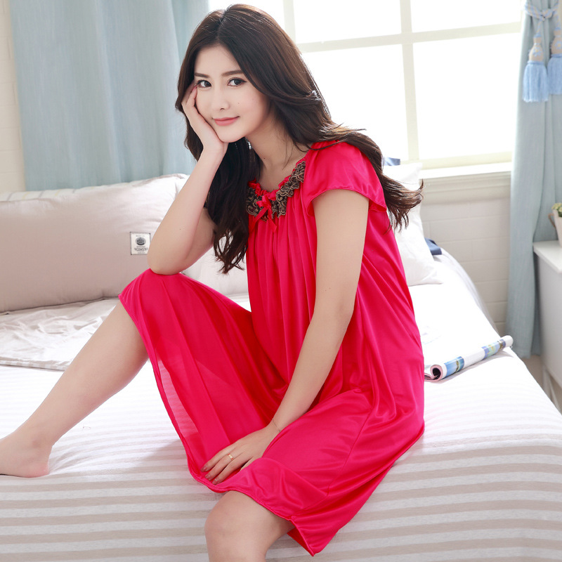 Factory Sales Summer New Viscose Nightgown Plus-sized Pajamas Women's 200-Short Sleeve Tracksuit Pajamas