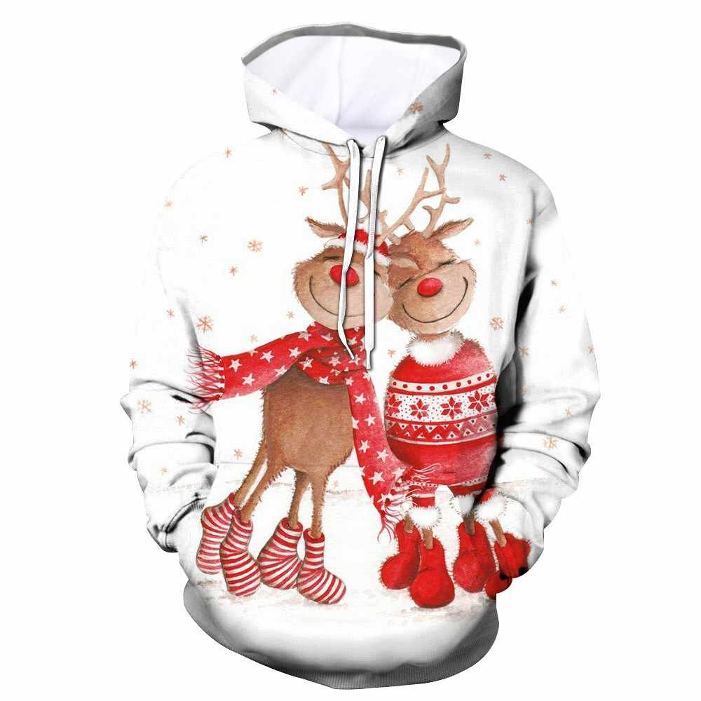 2019 Valentine's Day Couple Hoodies Pullover Christmas Costume Sweater Women Men Lover Tops Clothes Men Long Sleeve Hoody Top