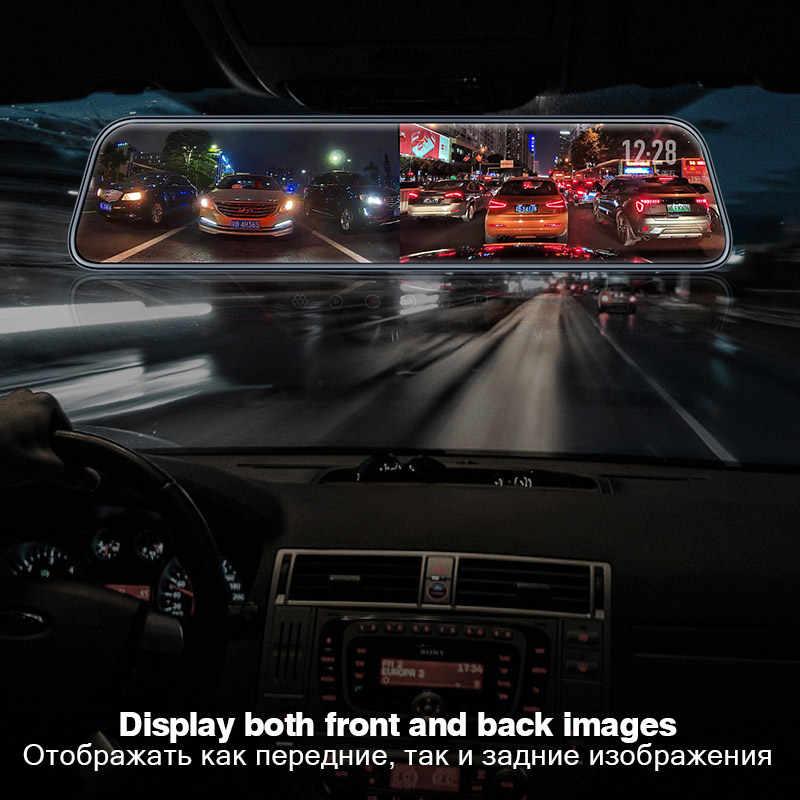 D40 Ultra HD 2K 2560*1440P รถ DVR กล้อง Stream กระจกมองหลังกล้อง 12 ''IPS ไดรฟ์ Video Recorder Registrator