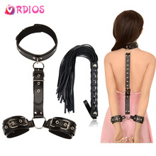 VRDIOS erotic sex toys for couples woman erotic bdsm bondage handcuffs neck collar whip for adult Sex toys slave accessories