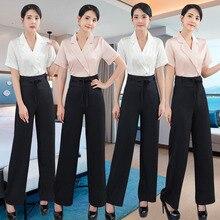 Summer 2020 Stewardess uniform professional suit Beauty salon uniform waist technicians spa foot bath uniform