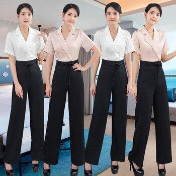 Summer 2020 Stewardess uniform professional suit Beauty salon waist technicians spa foot bath