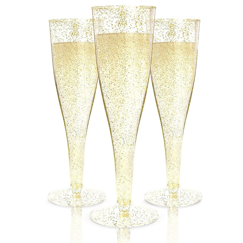 Plastic Champagne Flutes Disposable Cup Gold Glitter Clear Toasting Champagne Glasses Wedding Party Bulk Pack 6.7oz/180ml H2004