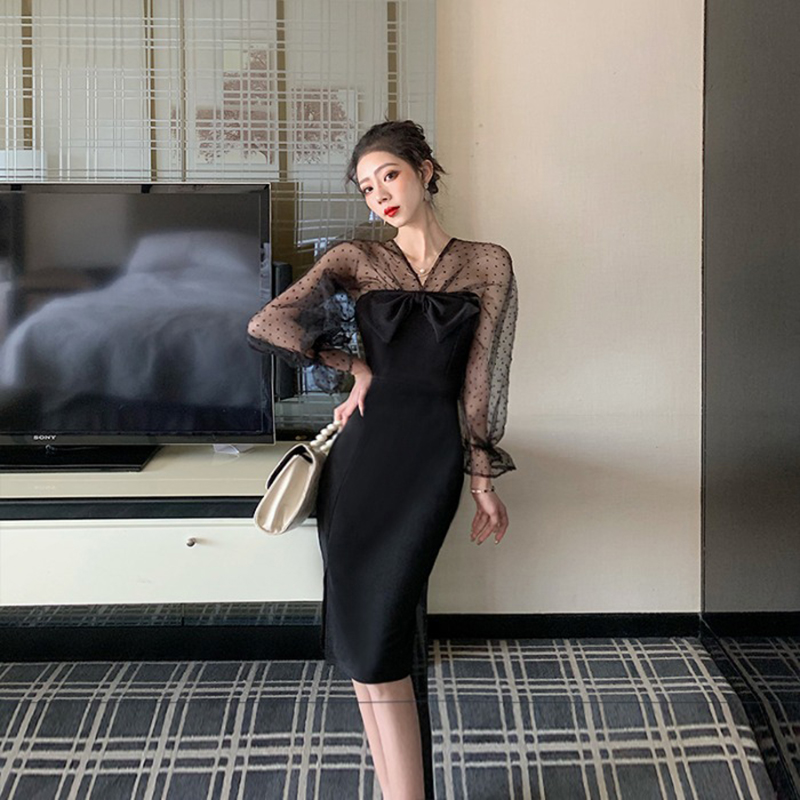 Women's Dress Spring and Autumn New Sexy V-neck Bow Mesh Patchwork Slim Fit Was Thin Bag Hip dress Full Split Dress Women ML619