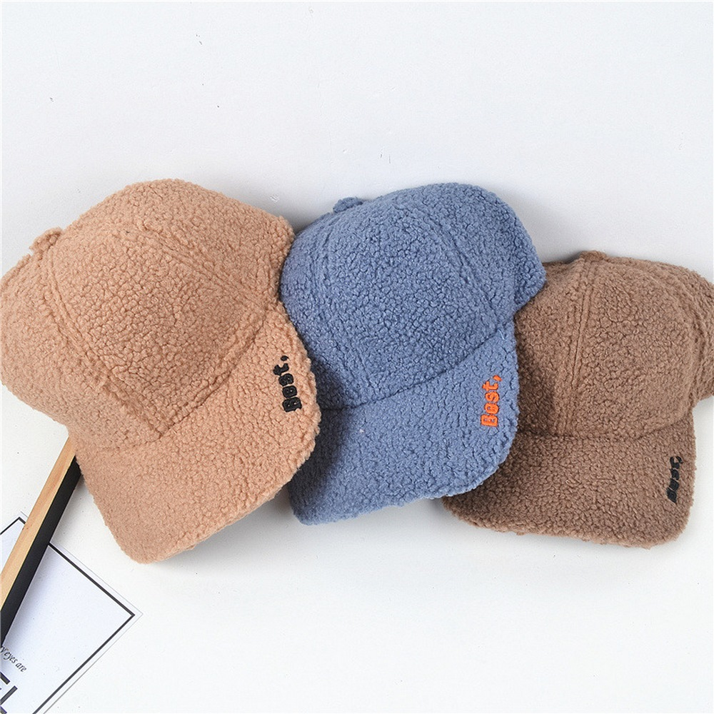 Autumn And Winter Women Baseball Caps Trendy Style Lambswool Embroidery Pattern Warm Outdoor Fashion Female Hats