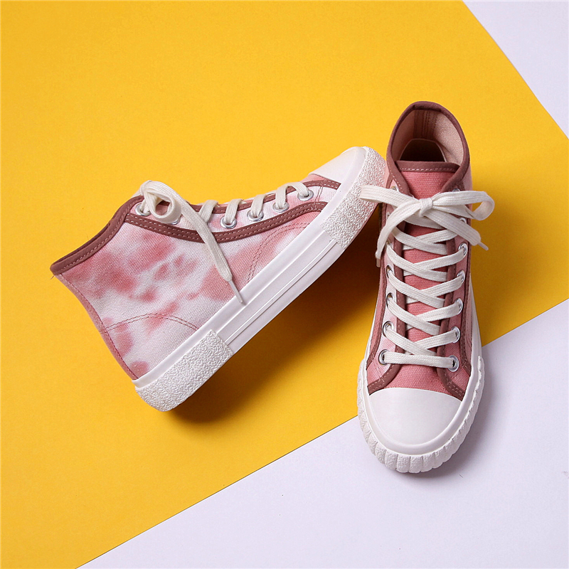 Women's Canvas Shoes 2020 New Women Sneakers Breathable High Flats Sneakers Casual Trendy Mixed Colors Canvas Female's Shoes