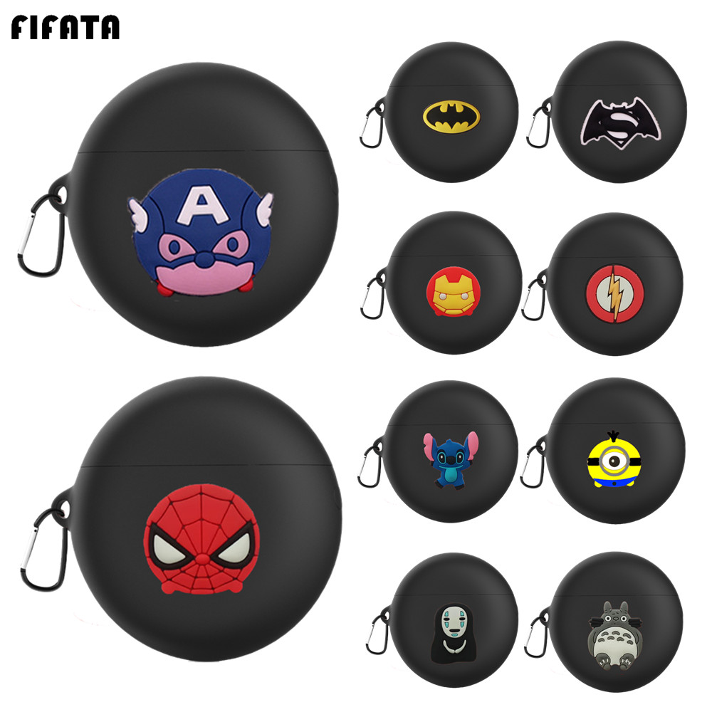 FIFATA Cartoon Silicone Case For Huawei Freebuds 3 Wireless Bluetooth Earphone Case Avengers Cover For Freebuds3 Protector Shell