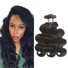 MSH Brazilian Body Wave Hair 3/4 Bundles 100% Brazilian Human Hair Weave Natural Black Color Non-Remy Hair