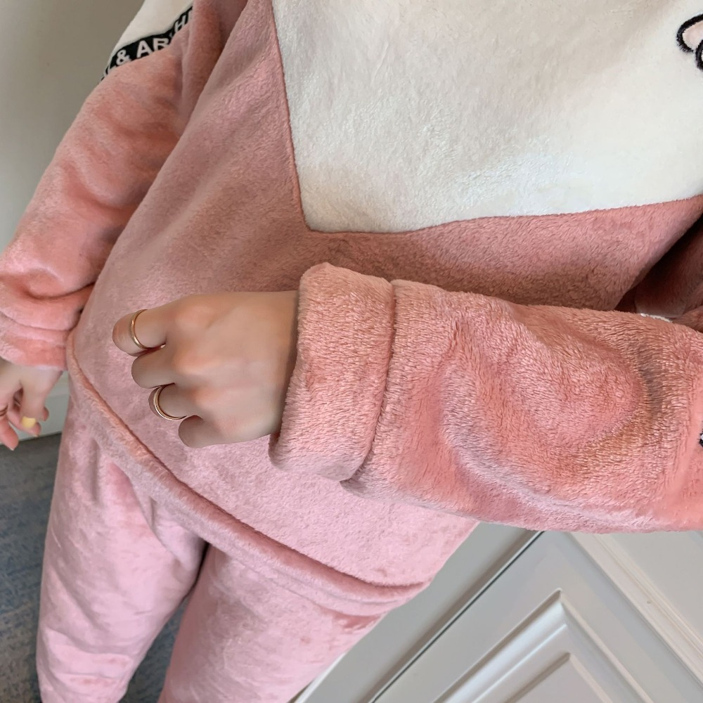 Betyline 2019 New Winter Pajamas For Women Sleepwear Warm Flannel Long Sleeves Pajamas Cute Animal Homewear Thick Homewear 135