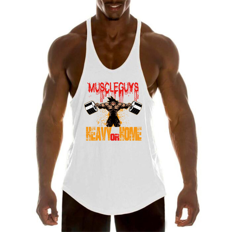 Workout Sports Shirt Brand Gym Mens Back Tank Top Vest Muscle Fashion Sleeveless Stringer Clothing Bodybuilding Singlets Fitness