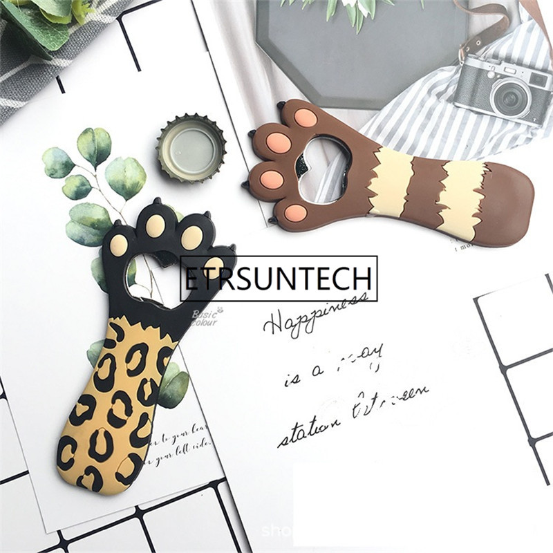 100pcs Magnet Cat Paw Claw Shaped Bottle Opener Cute Bar Tool Glass Beer Bottle Opener Corkscrew Kitchen Bar Tools Fridge Magnet