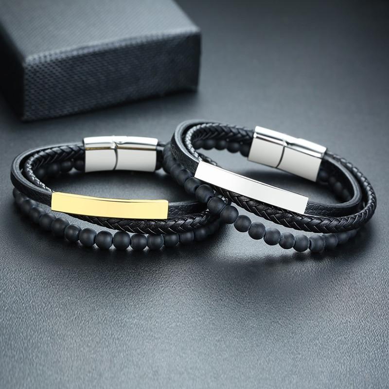 Bracelet personnalisé avec nom noir à perles pour hommes, Bracelet en pierre naturelle, fermoir magnétique, en acier inoxydable