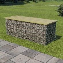 Banco de Gabion de 120 cm, acero galvanizado y madera de pino