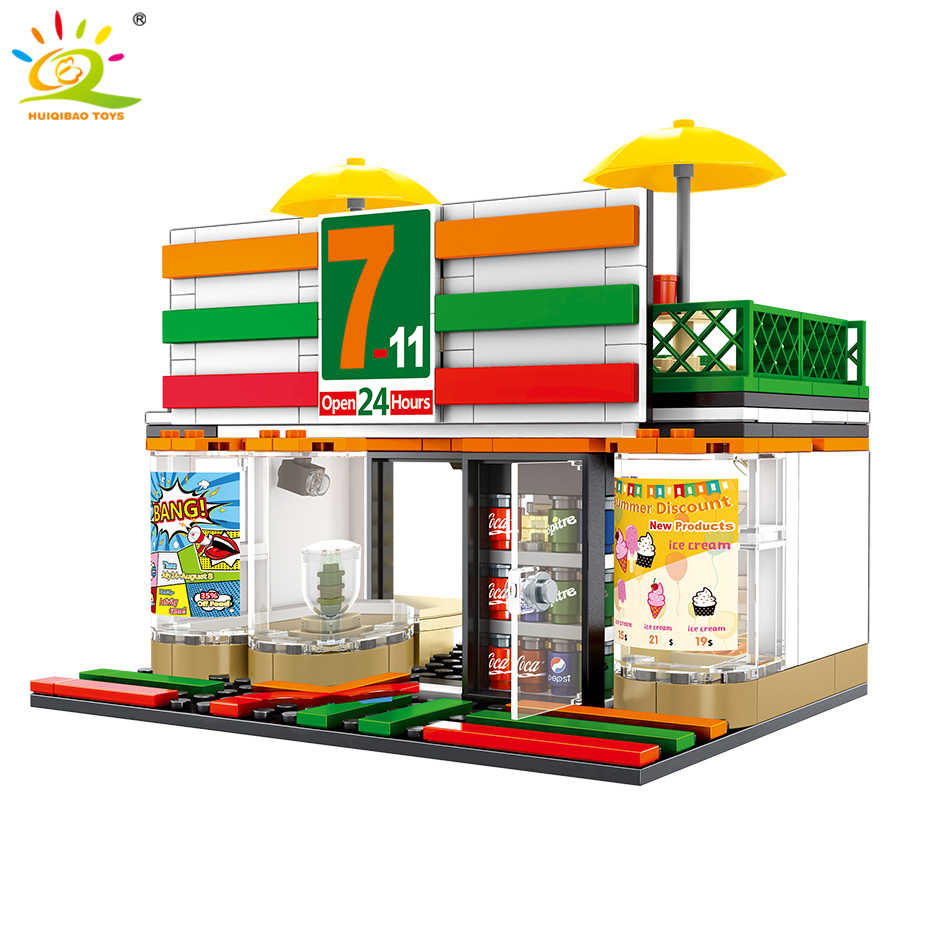 320pcs City Convenience Store 7-11 Model Building Blocks Legoing Minecrafted Street View Collection Bricks Toys For Children