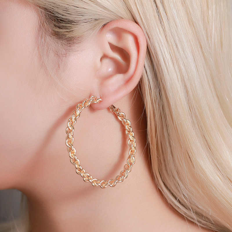 Big Circles Twisted Hoop Earrings For Women Gold Silver Color Ear Jewelry Hollow Metal Chain Statement Loop Earring Accessories