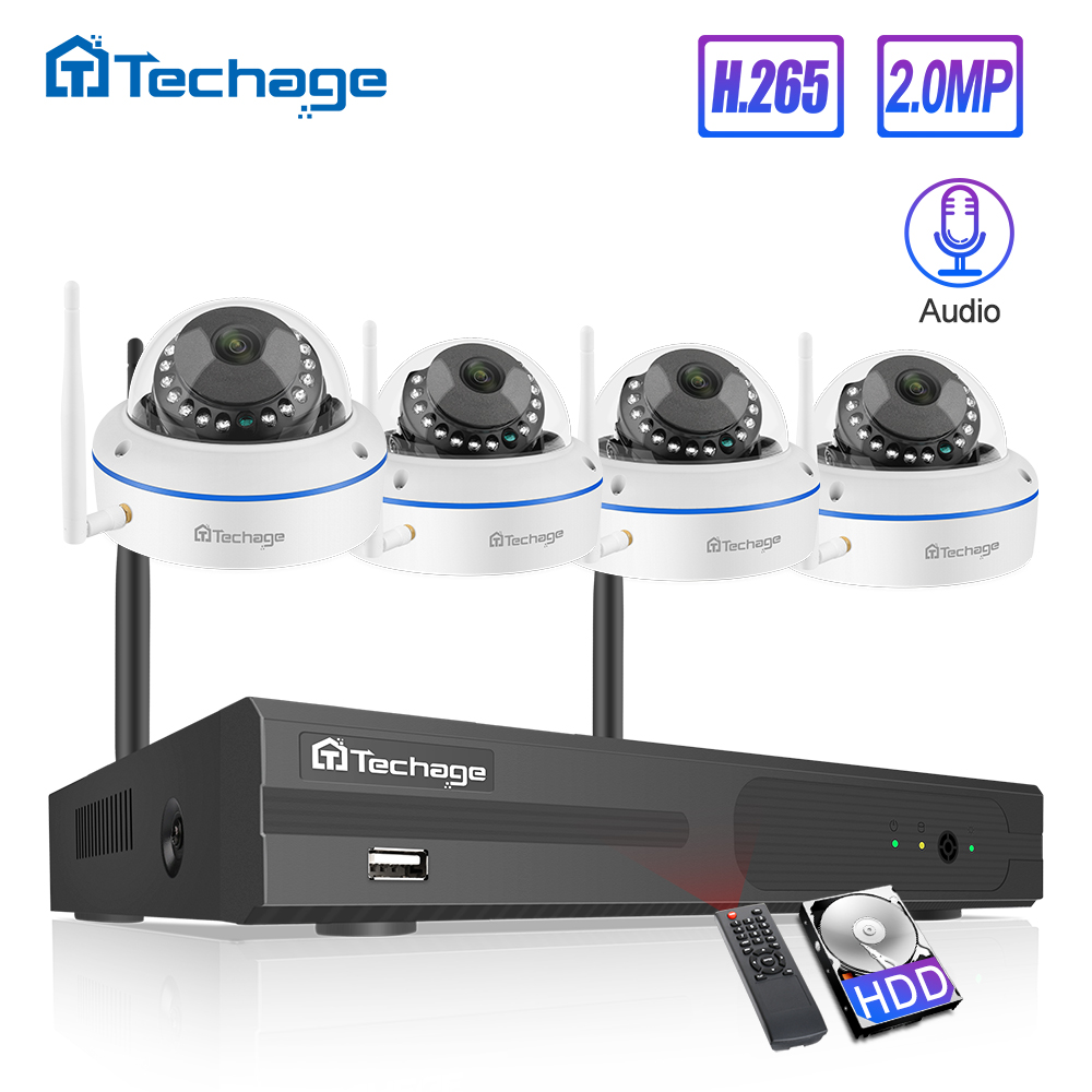 Techage 4CH 1080P Wireless NVR Kit CCTV Security System Audio Record 2.0MP Indoor Dome WiFi IP Camera P2P Video Surveillance Set