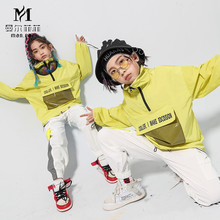2020 Childrens Street Dance Suit Loose Green Jacket White Pants Set Kids Girls Boys Hip Hop Jazz Costumes for Stage Performance