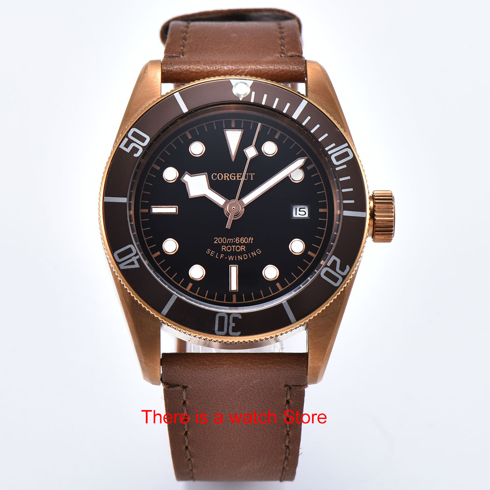 Corgeut 41mm Automatic Watch Men Military Black Dial Wristwatch Leather Strap Luminous Waterproof Sport Swim Mechanical Watch 6
