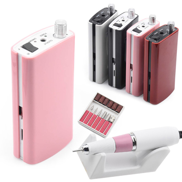 Portable Rechargeable Nail Drill Machine 36W 35000RPM Manicure Machine Electric Nail File Nail Art Tools Set for Nail Drill bits