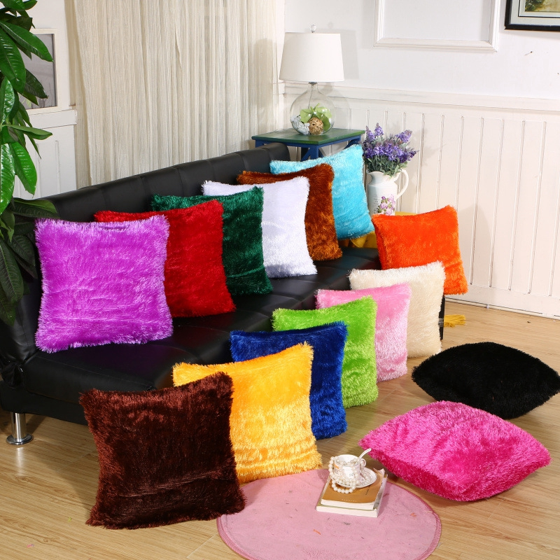 Throw Pillows For Sofa Car Chair Hotel Home Decoration Solid Soft Plush Faux Fur Wholesale Decorative Cushion Cover