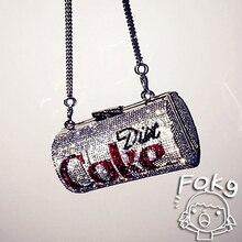 Women Creative Cans Diamonds Women Shoulder Bags Designer Cola Shape Chains Fema