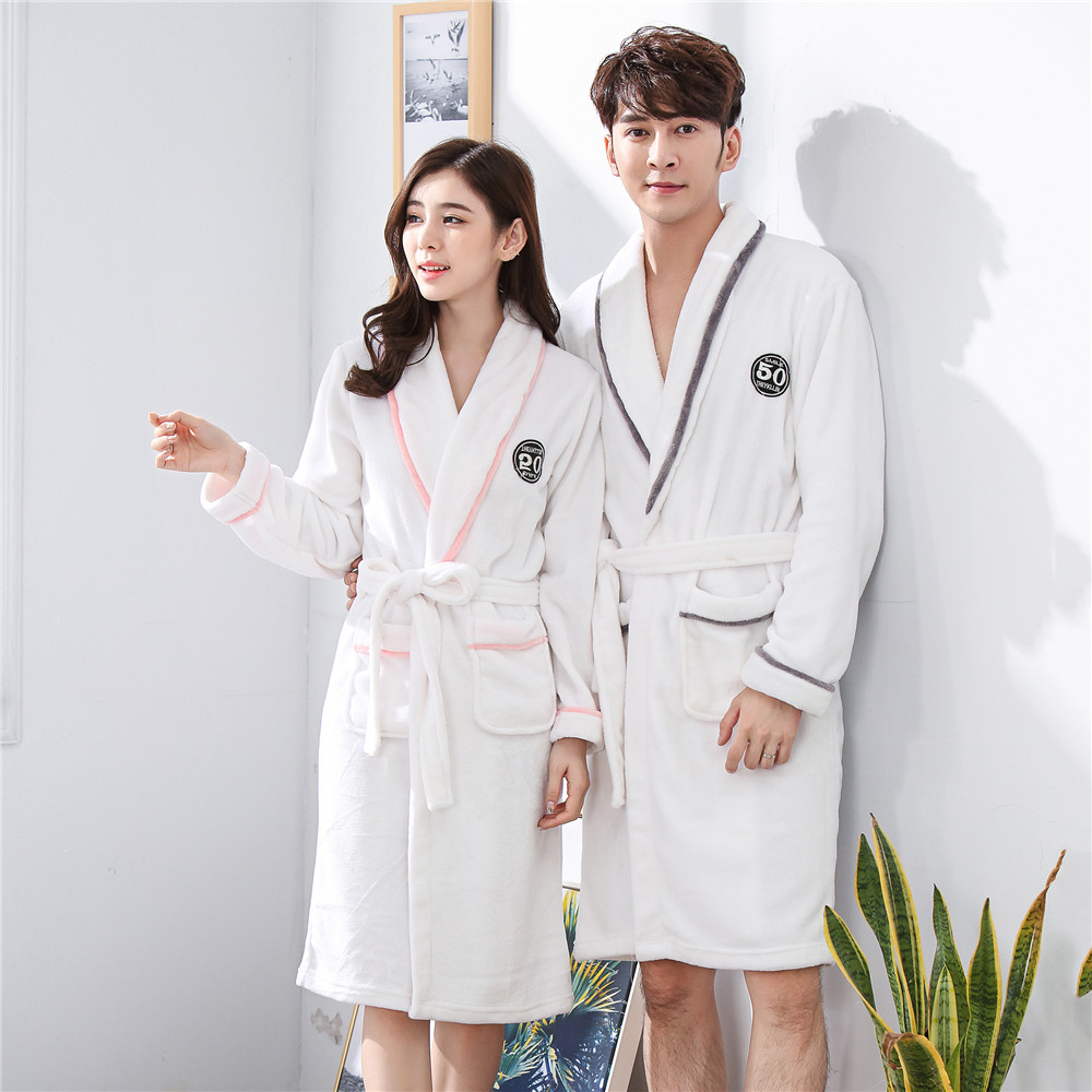 Solid Colour Pajamas-set For Sweetcouple Home Dressing Gown Full Sleeve Intimate Lingerie Nightwear Coral Fleece Sleepwear Robe