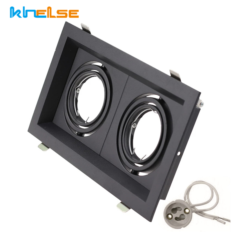 Quadrado duplo anel led downlights teto recessed ajustável gu10 mr16 lâmpada soquete base lâmpadas de ponto suporte quadro montagem