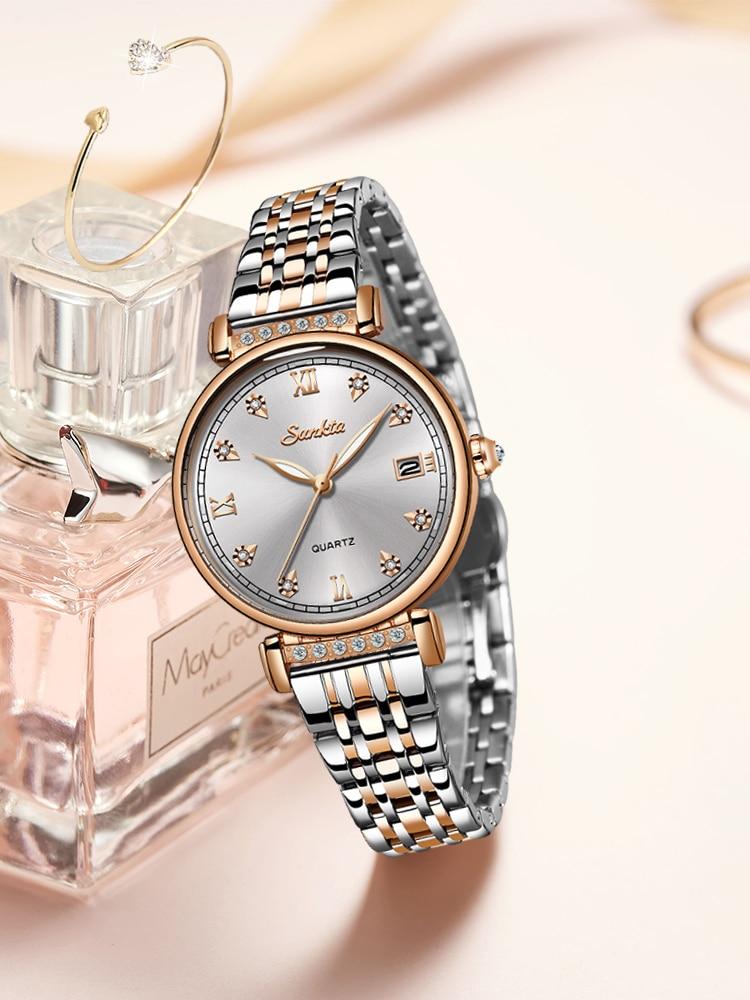 Women Watch Clock Business Rose-Gold SUNKTA Female Girl Top-Brand Feminin Ladies Luxury