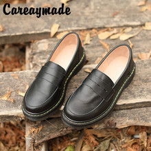 Careaymade-Spring New Shoes Top Cattle Leather Recreational  Womens Single Breathable Round Headed