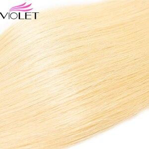 Image 5 - VIOLET Peruanische Gerade 613 Blonde bündel Medium Verhältnis 8 26 Nicht Remy Menschenhaar Weben Tissage Blond Honig haar 3/4 bundle Deal