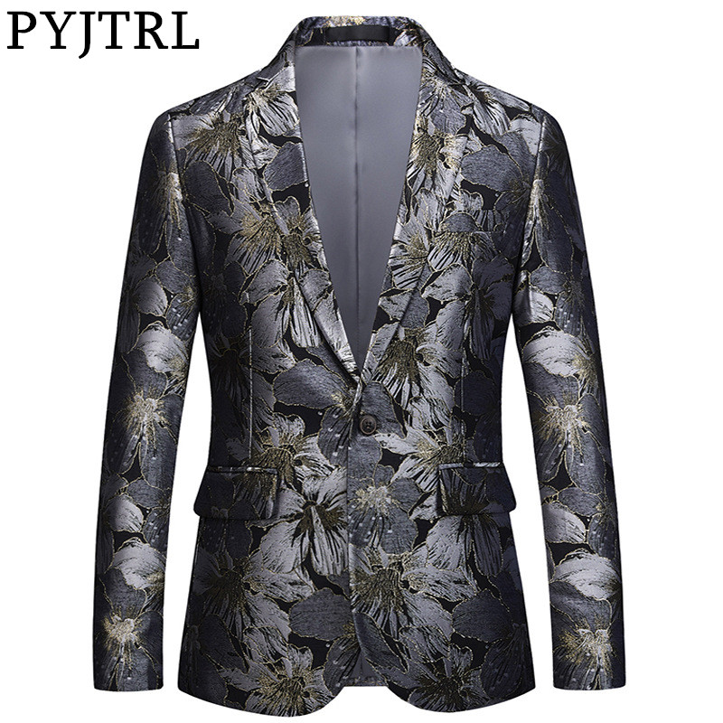 PYJTRL High Quality Men Jacquard Floral Suit Jacket Handsome Tide Brand Slim Fit Balzers Casual Coat Male Stage Signers Clothing