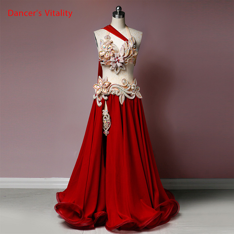 Belly Dance Competition Outfits Customized Bra With Ribbon Belt Long Skirt Set Oriental Indian Dancers Performance Costume