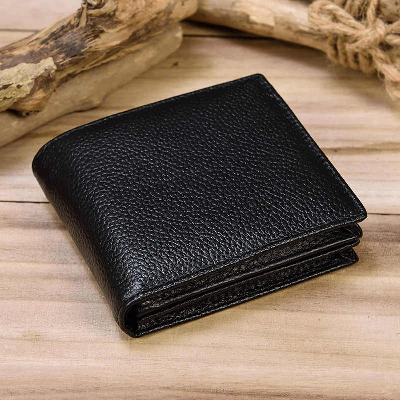 MAHEU Classic Black Soft Genuine Leather Men Wallet Small Bifold Cowhide Short Purse For Credit Card 2 Folds Male Slim Wallets