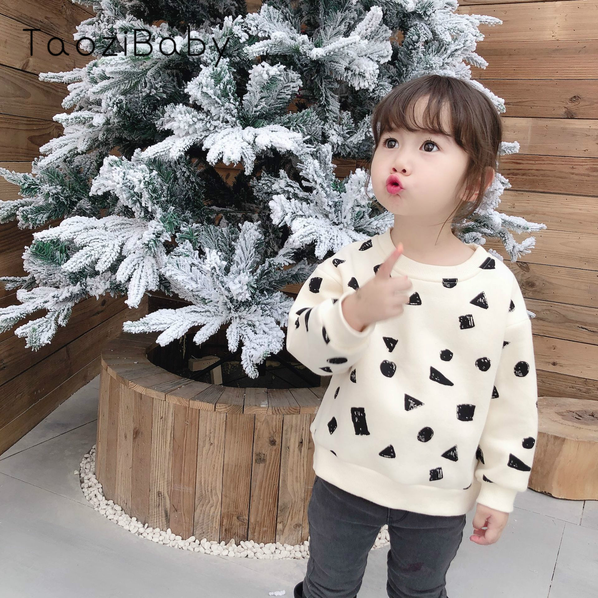 Fall Toddler Girl Tops And Winter 2019 New Boys And Girls Pullover Black Square Graffiti Guard Top Neutral Style Boys T Shirt