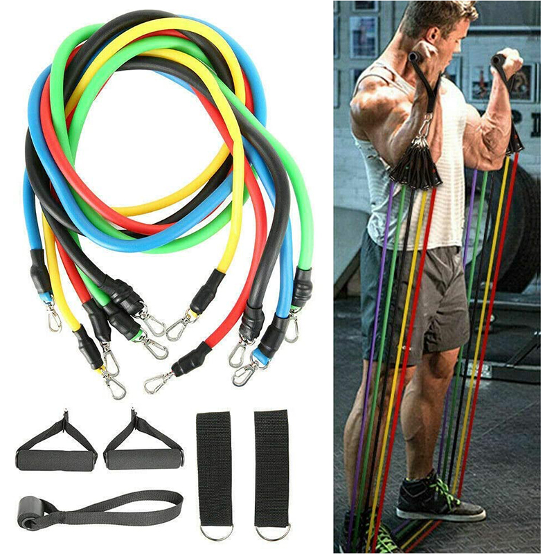 11 Pcs Resistance Bands Set Training Exercise Yoga Tubes Pull Rope Equipment Pilates Yoga Fitness Elastic Bands With Bag