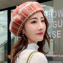 HT2609 Wool Hat Autumn Winter Hats for Women Ladies Beret Vintage Warm Berets Retro Plaid Artist Painter