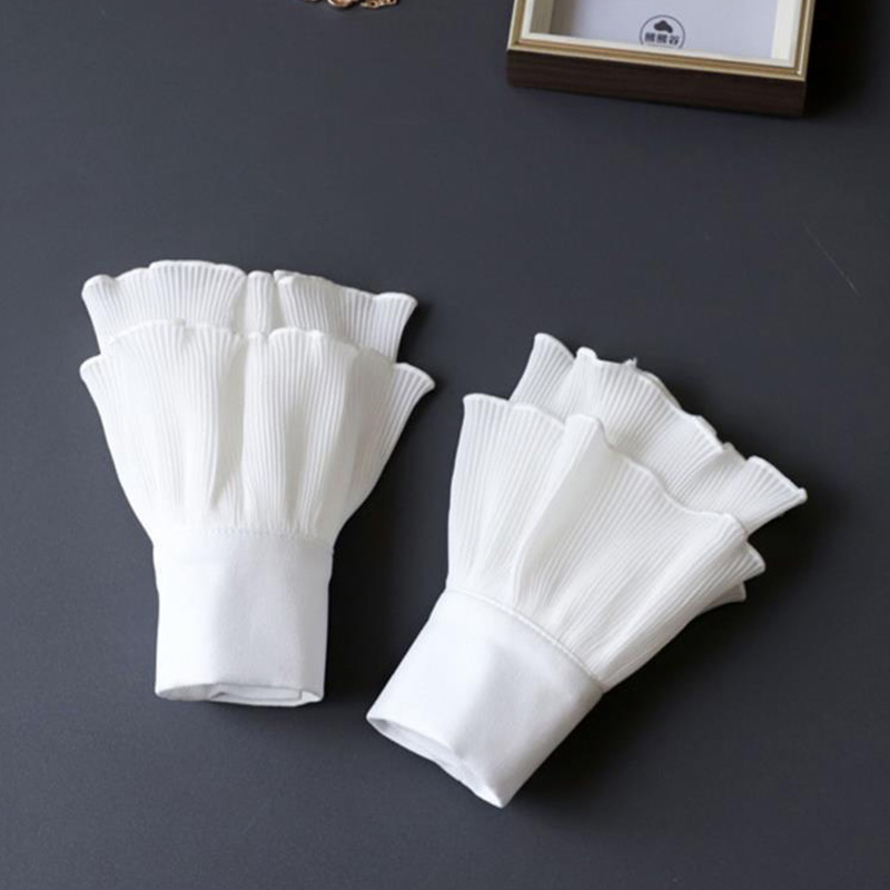White Fake Sleeve Cuff DIY Ruffle Detachable Cuffs For Women Sweater Button Black Decorated Lace Cuff Fake Sleeves Tie