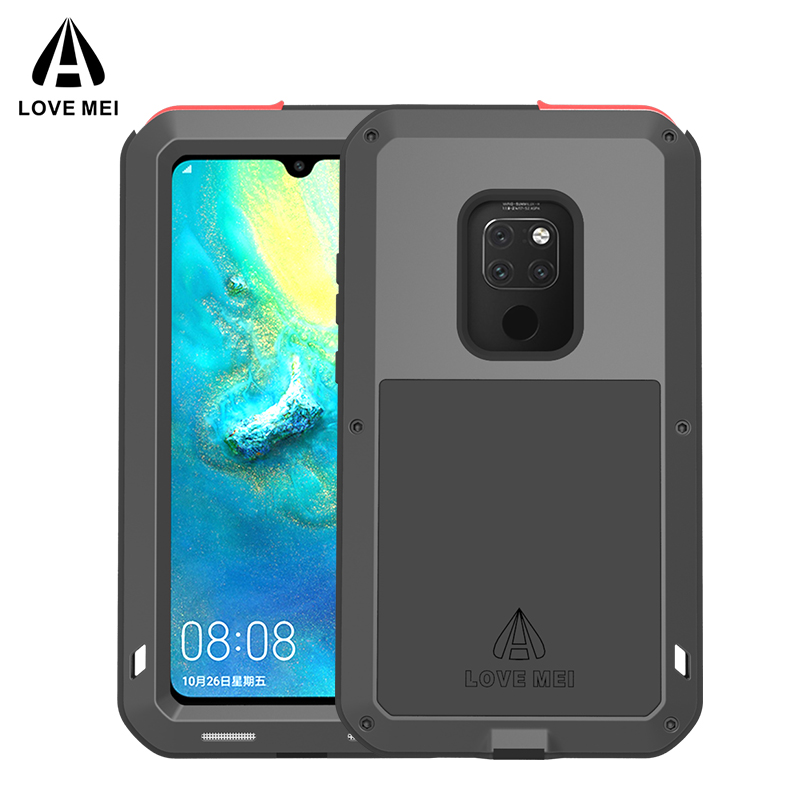 Original Aluminum Metal Glass Outdoor Shockproof Case for HUAWEI Mate 20/Mate10 Case for Huawei Mate 20 Lite/10 Pro Cover-in Fitted Cases from Cellphones & Telecommunications