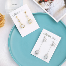 2019 New Fashion Golden Crystal Rhinestone Long Drop Earrings for Women Girls Fashion Bow Opal Wedding Jewelry Earrings Gift fashion jewelry golden triangle small black white glass drop earrings woman gift