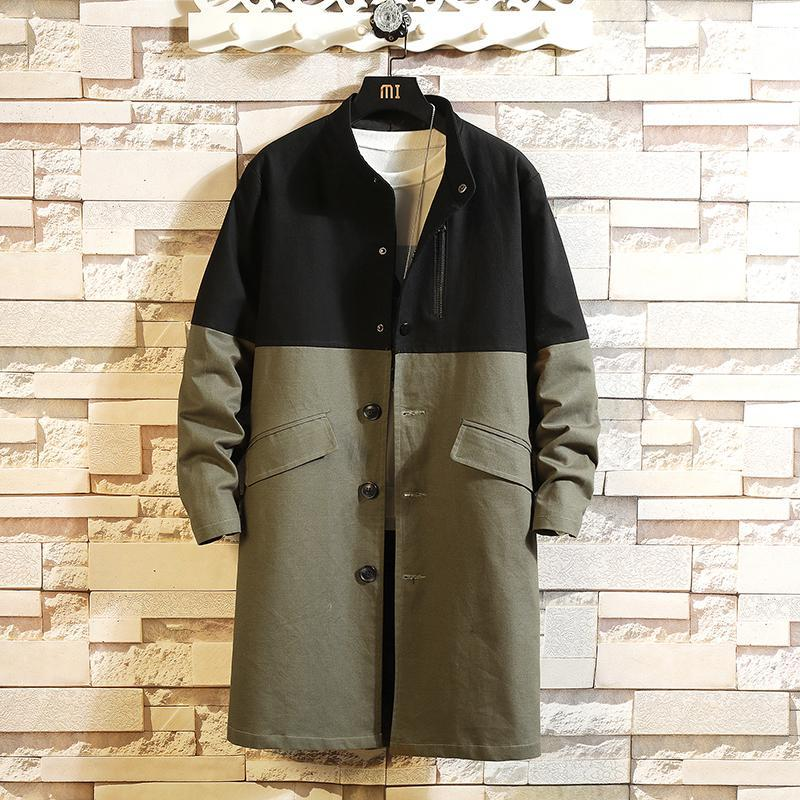 M-5XL Color Block Stand Collar Autumn Long Sleeve Thin Trench Men Light Weight Spring Vintage Clothing Long Coats Men XXXXXL