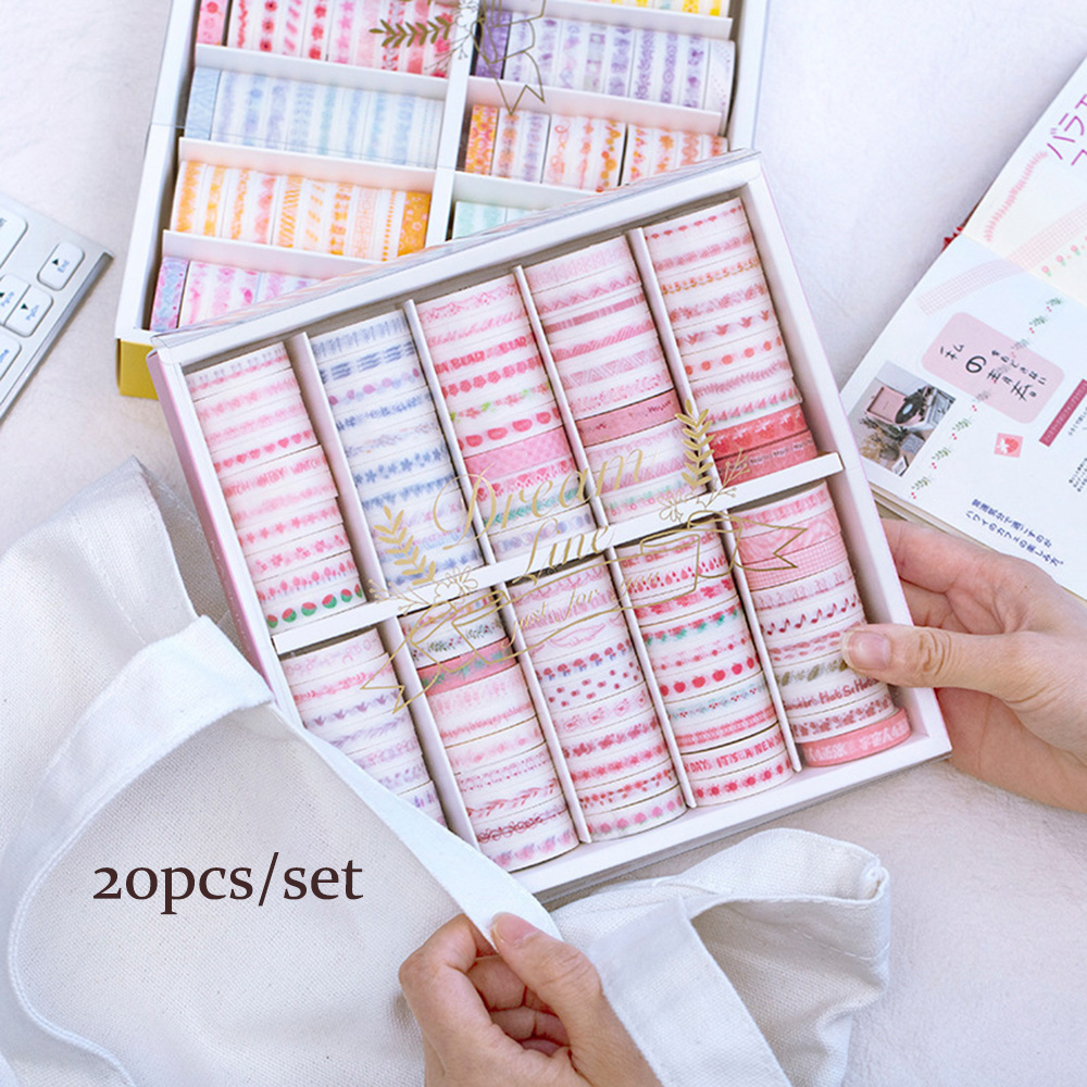 20Pcs/Set Black Foiled Washi Tape Japanese Paper DIY Planner Masking Tape Adhesive Tapes Stickers Decorative Stationery Tapes