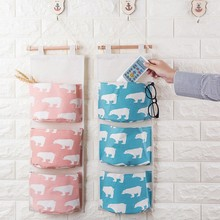 3 Pockets Wall Hanging Storage Bags Cotton Linen Organizer For Sundries Cartoon Plaid Prints Mounted Door