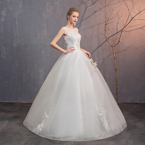 Свадебные платья до пола со шнуровкой, ТРАПЕЦИЕВИДНОЕ платье невесты с аппликацией